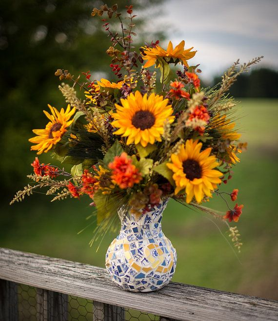 Fall Faux Sunflower Arrangement in Whimsical French Blue ...