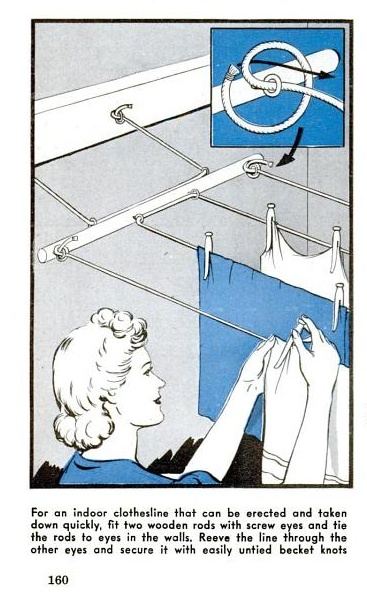 Indoor clothesline that can be erected and taken down quickly... Popular Science, circa March 1944. page 160. Original URL - http://books.google.com/books?id=0SkDAAAAMBAJ=PA154=popular%20science%20workbench=tl=PA160#v=onepage=false