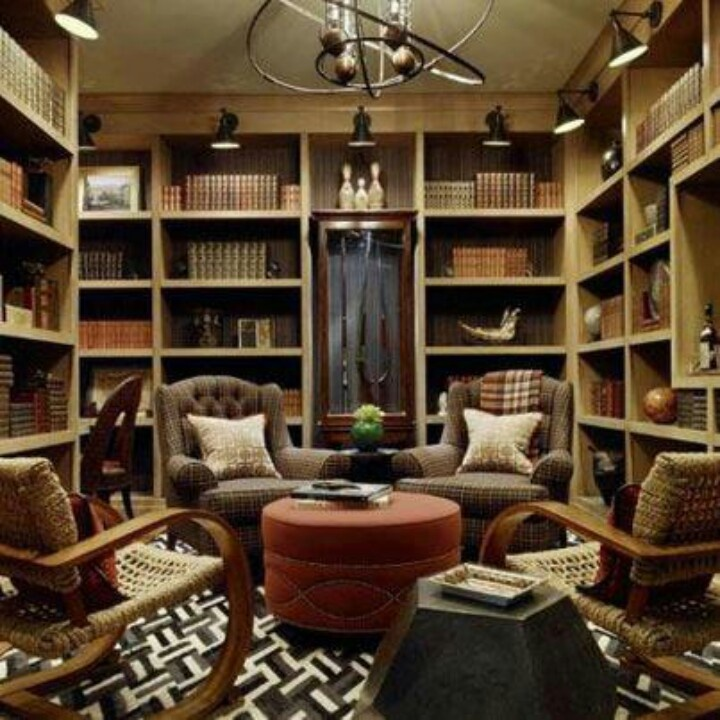 A Busy Yet Cozy Library Setup For The Home Pinterest