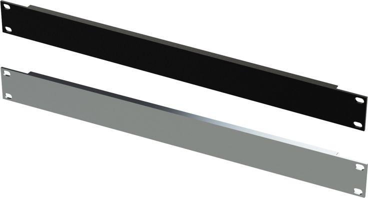 1U black & silver blank panel angled