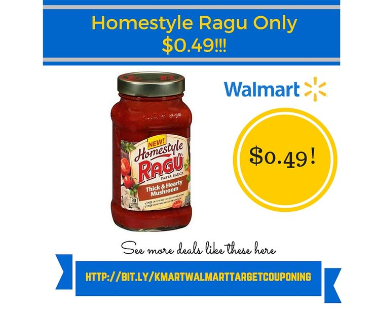Walmart Coupon Matchup: Homestyle Ragu Only $0.47 - http://www.couponsforyourfamily.com/walmart-coupon-matchup-homestyle-ragu-only-0-47/