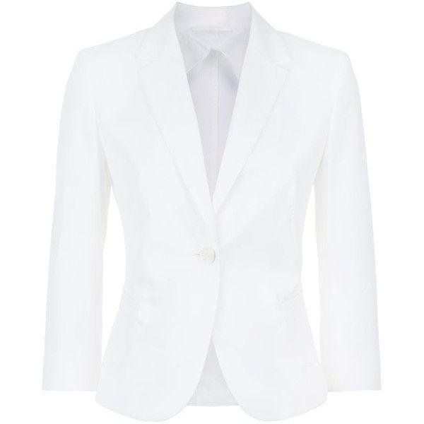 MaxMara Single-Button Slim Blazer found on Polyvore featuring outerwear, jackets, blazers, blazer jacket, white blazer, slim fit one button blazer, slim fit blazer and slim jacket