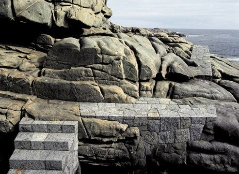 detail of a public stone path system along the coastal bluffs through a residential development called 'Punta Pite', near Zapallar, Chile.  Designed by Teresa Moller & Associates of Santiago