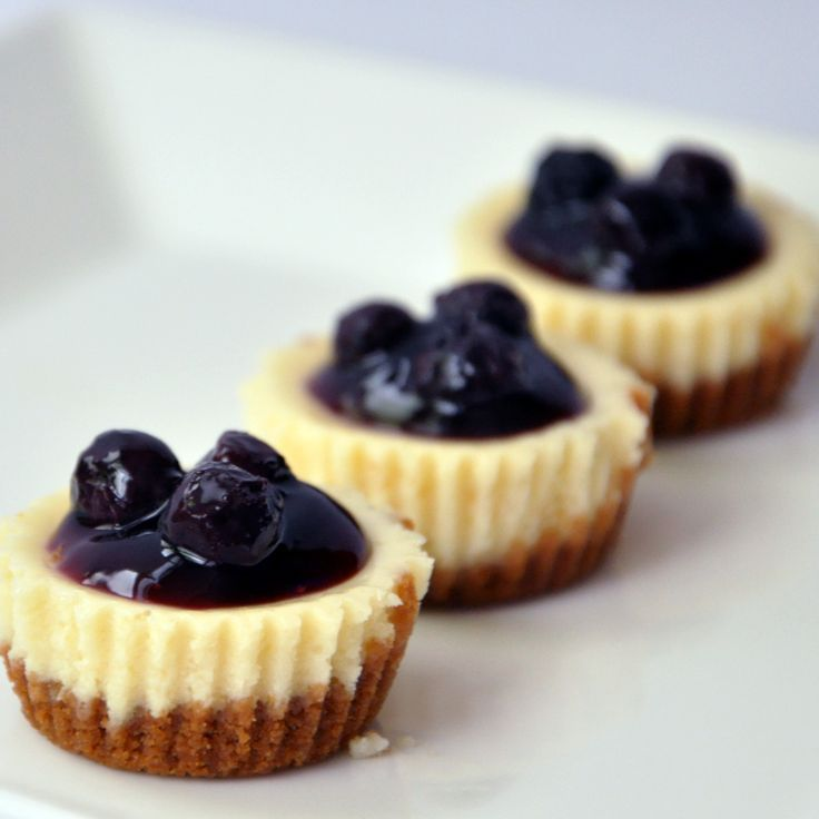 Blueberry Cheesecake Bites ...Use your favorite plain Cheesecake recipe filling & gram cracker crumb crusts ...Bake in mini 3/4 oz. paper-lined muffin cups at 350ᵒ F for 20-25 minutes, or until firm but the centers of the cheesecakes still a bit jiggly, cool and top with blueberry pie filling