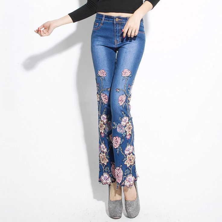 Manual rebordear bordado tramo vaqueros flare hembra corte de bota bordado flor de rose pantalones vaqueros pantalones de mezclilla delgada más size26-36(China (Mainland))