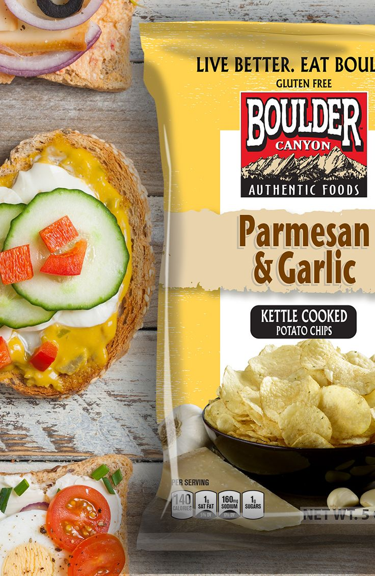 """Boulder Canyon chips are tasty inside or """"on the side"""" of your sandwich!"""