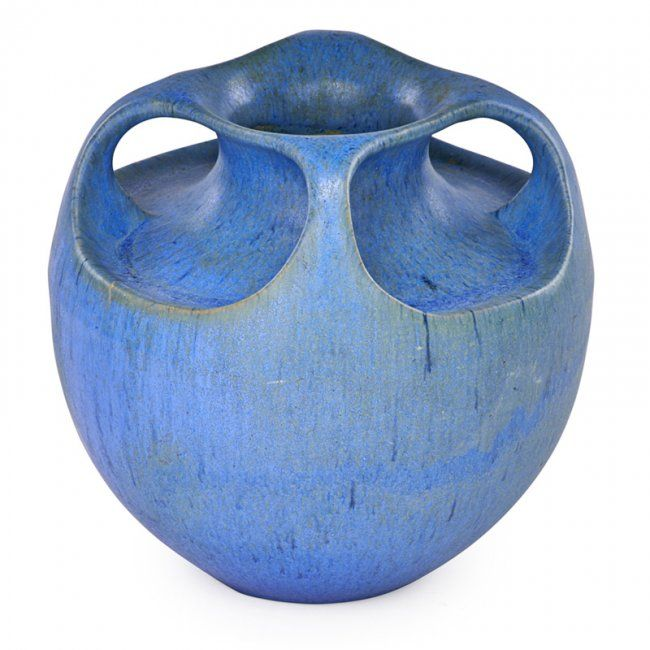 "FULPER Four-handled vase matte blue glaze, Flemington, NJ, 1915-20; Raised vertical racetrack mark; 8 1/4"" x 9"""