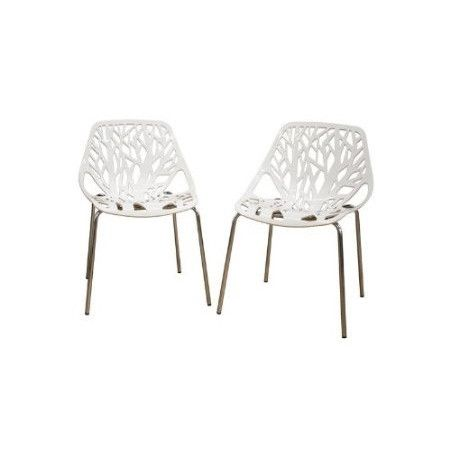 Set Of 2 Modern Dining Chairs With White Plastic Seat And Metal Legs