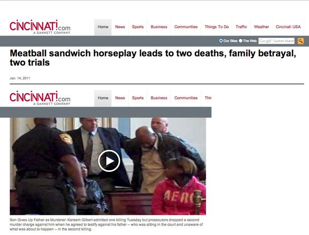 When this meatball tragedy happened.   The 30 Most Head-Scratchingly Bizarre News Headlines Of All Time Again.  What.