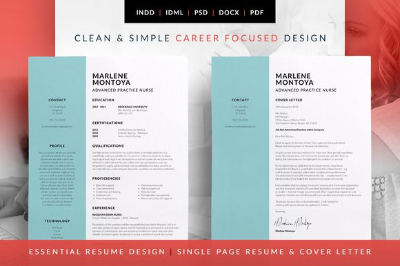 Essential Resume - CV & Cover Letter template. Teachers resume idea. Marlene by bilmaw creative on @creativemarket