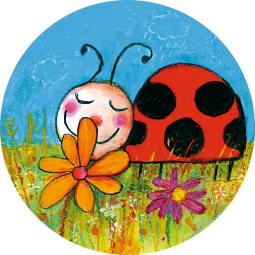 """Benoit Morel carte postale ronde (13,8 cm) """"La coccinelle et la fleur"""""""
