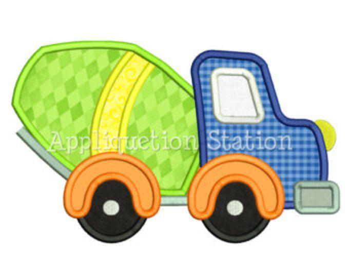 Schattig Cement Mixer Truck stoffen Machine borduurwerk Design jongen voertuigbouw INSTANT DOWNLOAD