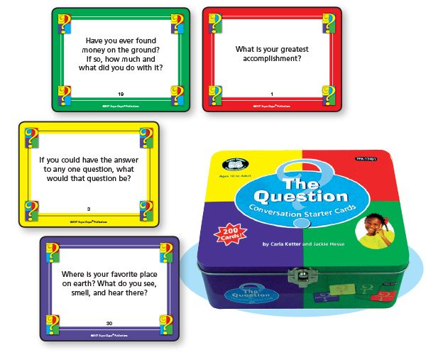 200 conversation cards (4'' x 3'') to improve students' syntax, writing, listening, humor, and pragmatic skills. 23-page, mini activity booklet. 2 players. Grades 5 and Up. $35