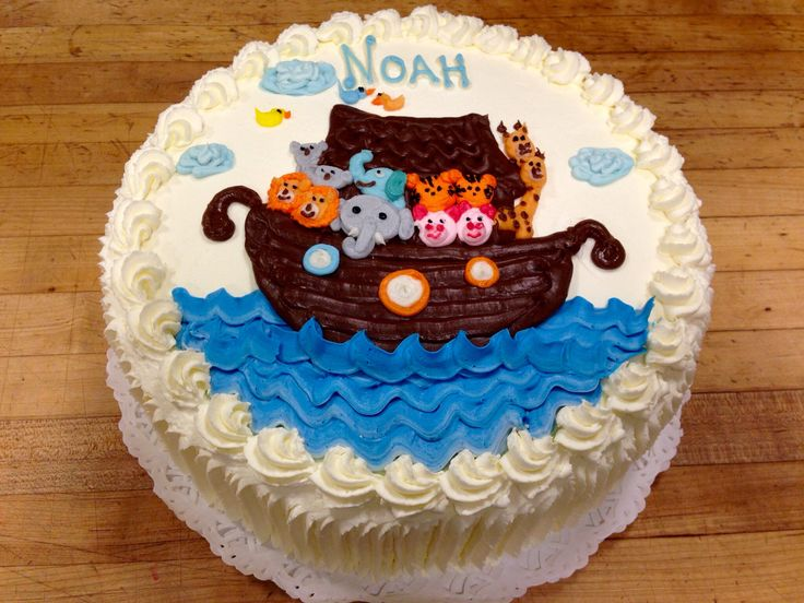 Noah S Ark Baby Shower Cake Decorated With Hand Piped