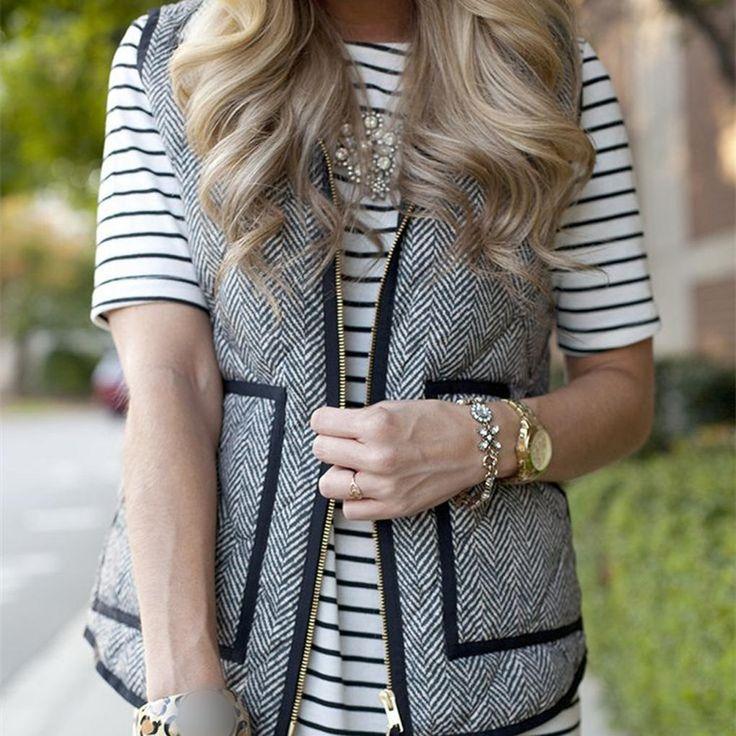 US $18.70 -- Big sales newest Women Gray Sleeveless Winter Thick Warm Waistcoat Vest Strip Coat Jacket aliexpress.com