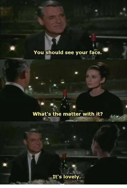 """Cary Grant and Audrey Hepburn, """"Charade"""" (1963). One of my top three favorite movies for its moments like this."""