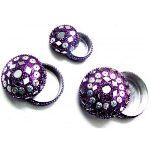 3Pcs Purple Sparkling Women Jewelry Keepsake Box