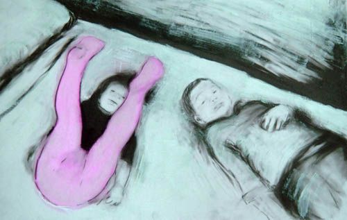 "Kendra Gadzala, The White Bed, acrylic on mylar, 11""x17"". $450 framed"