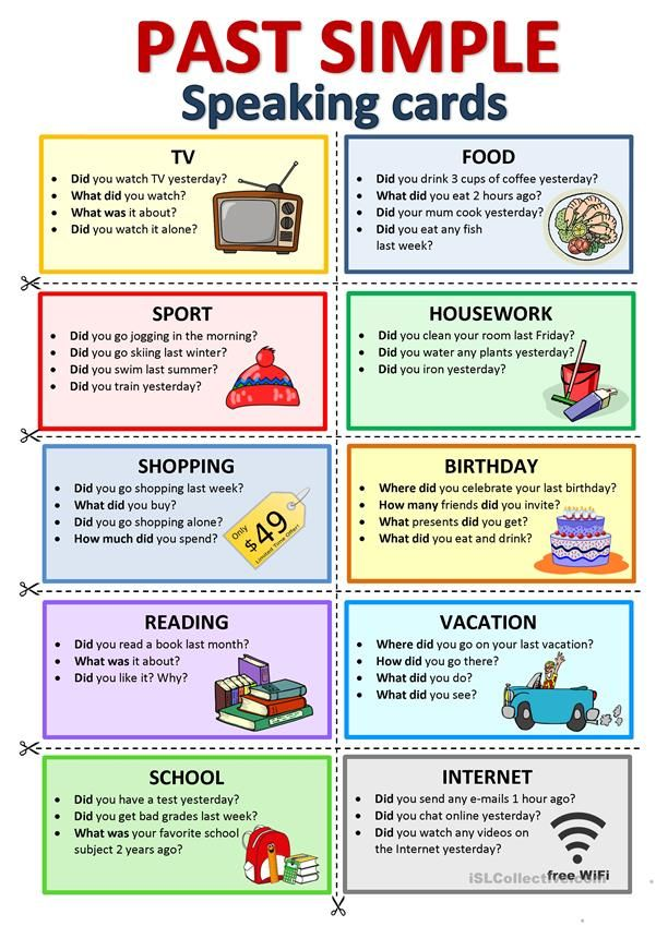 PAST SIMPLE - Speaking Cards - English ESL Worksheets For Distance Learning  An… In 2020 Speaking Activities English, Learning English For Kids,  English Teaching Materials