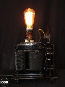 Lampe Tractor creation piece ancienne electrique industriel 8  steampunk Tractor Lamp industrial vintage loft indus