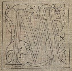M Monogram pattern for needle work or punch needle. LM 10-2014