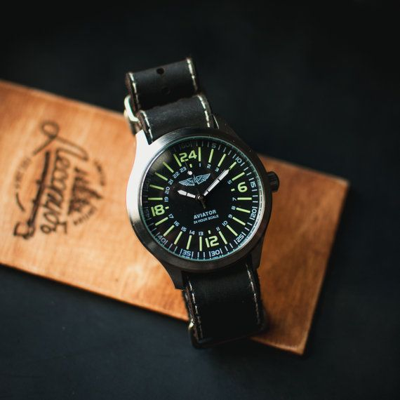 Mens military watch Aviator 24 Hours, black watch, watch men, rare watch, military watches, retro watch, vintage watches, watch for him