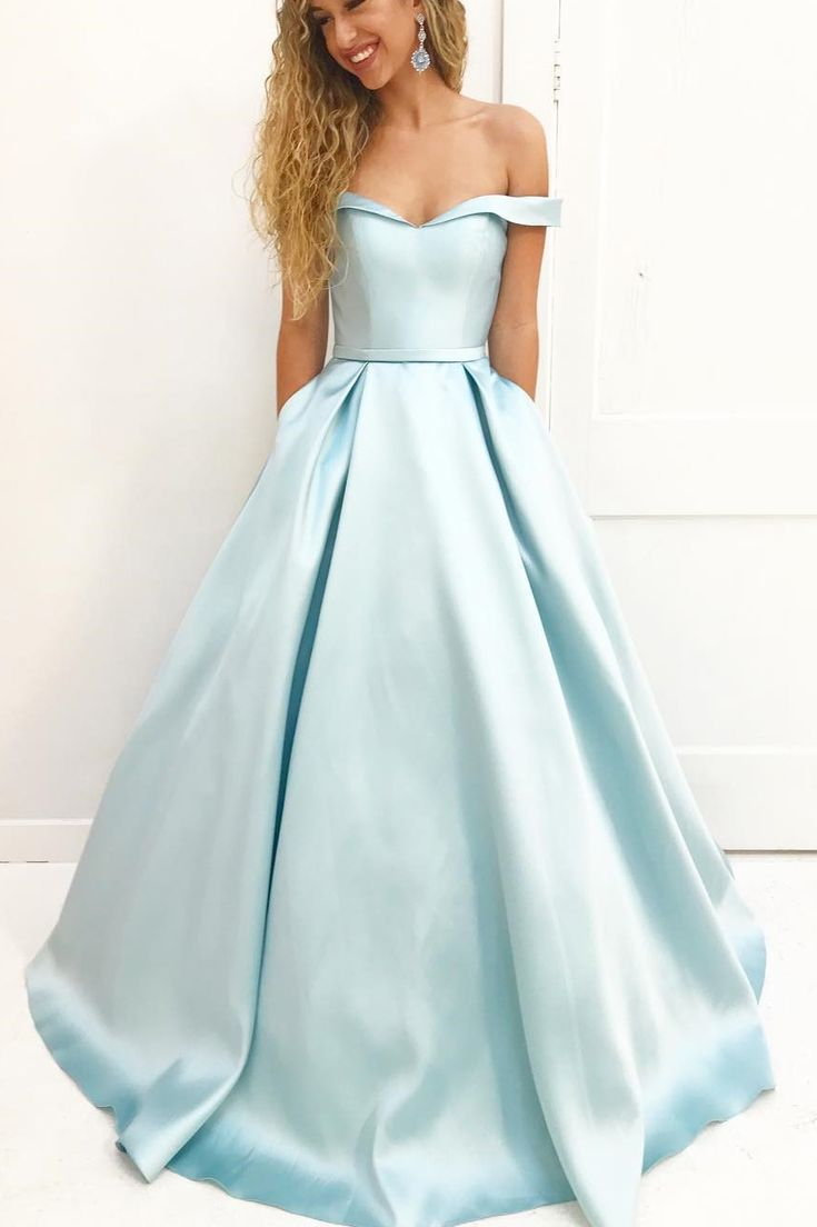 Off the Shoulder Long Prom Dress with Pockets  Blaue