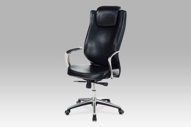 KA-H028 BK Kancelářská židle, koženka černá, synchronní mechanismus, alu kříž. Elegantní kancelářské křeslo s područkami zaručí příjemné posezení díky vysoké funkčnosti a bohatému polstrování.