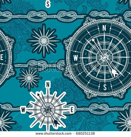 Seamless pattern with vintage compass, wind rose and rope knot. Nautical background. Retro hand drawn vector illustration