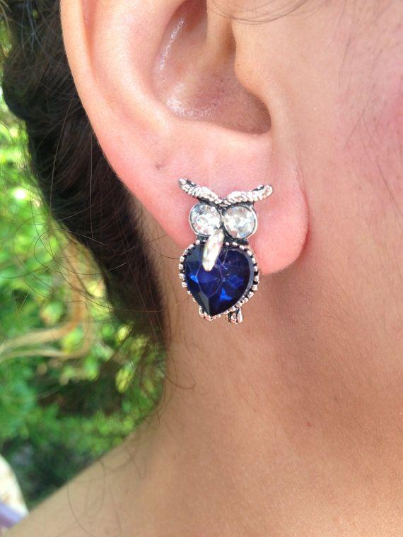Earring, Owl Earrings, Darkblue  Earring, owl jewelry, Owl, Brass Owl, Brass Earring, gift for here