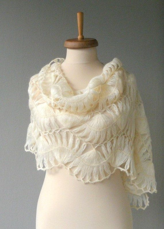 Looks so cozy! Ivory mohair Shawl - Ivory bridal shawl Crochet shawl Lace shawl from DokumaAccessories