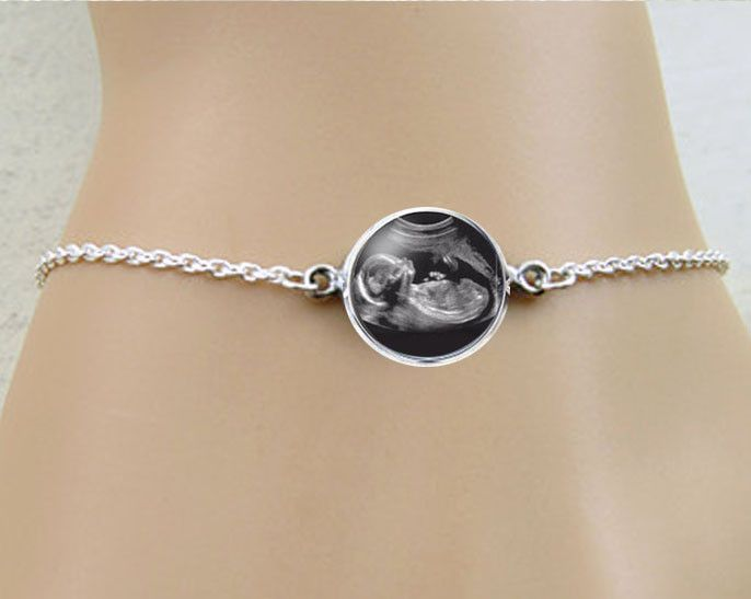 Christmas Gifts For New Mothers Part - 37: Sonogram Bracelet, Pregnancy Gift, Birth Announcement, Gift For New Mother,  Silver Ultrasound