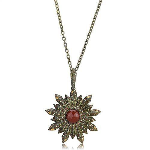 Antique Brass & Copper Onyx Star Necklace
