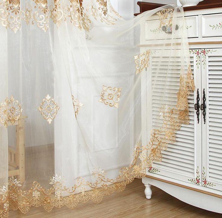 Aliexpress.com: Outlets & Factory Wholesaleより信頼できる 紫かつら サプライヤからヨーロッパ クラシック スタイル エレガント形状刺繍半透明な ボイル カーテン用寝室の バルコニー wp160 #15を購入します