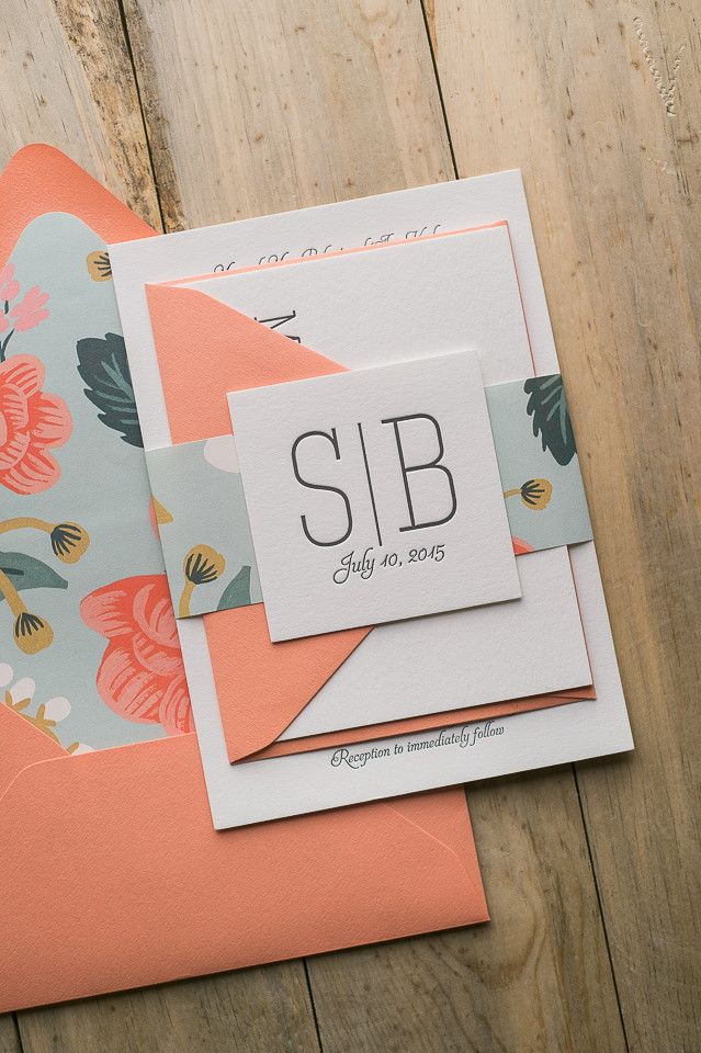 This invitation is my new favorite!!! CALLIE Suite Floral Package. Rifle Paper Co's brand new pattern, BIRCH, is used as the liner and belly band. Perfect for a spring, summer, or fall wedding. Coral, mint, letterpress, modern fonts, floral, rustic.