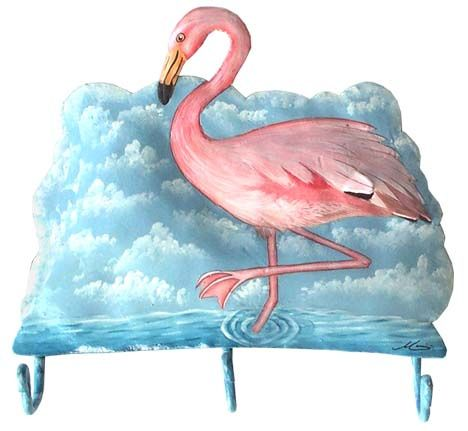 hand painted metal flamingo bathroom wall hook tropical decorating find at wwwtropicaccents - Pink Flamingo Bath Decor
