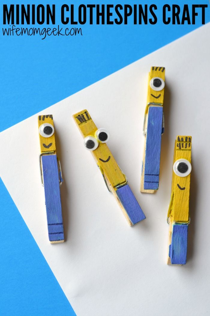 Clothespin Crafts Christmas Part - 15: Minion Craft For Kids - Clothespin Craft