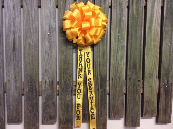 Yellow Ribbon Bow Thank You Military Troops by FancyStuffDecor