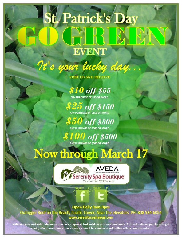 HAPPENING NOW: Go Green, Save Green! Now through St. Patrick's Day. Details below.> #Aveda #Deals #Savings #Gogreen #Sale https://www.facebook.com/photo.php?fbid=602121409816695=a.243876182307888.72166.243748478987325=1