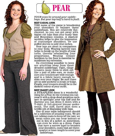 Trinny and Susannah show off the clothes to suit the pear women's body type.