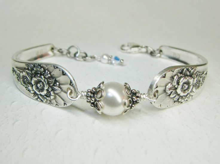 Silver Spoon Bracelet, White Pearls, Silverware Jewelry, Jubilee 1953 by SpoonfestJewelry on Etsy https://www.etsy.com/listing/126037037/silver-spoon-bracelet-white-pearls