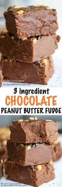 Easy Chocolate Peanut Butter Fudge is a no fail fudge recipe! Just a few minutes of prep and only 3 simple ingredients you likely already have to create this family favorite!