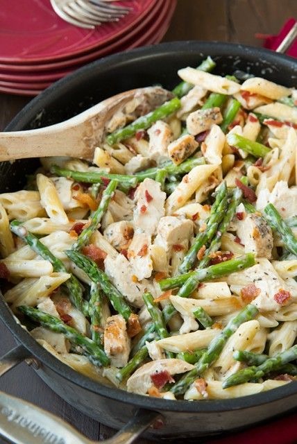 "Creamy chicken asparagus pasta... Looks yummi... Added to my ""to try"" list"