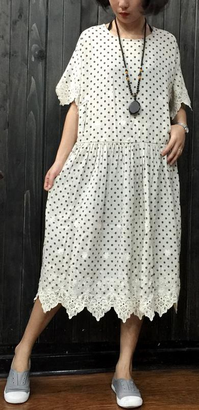 aca54b778917 women dotted linen dresses oversize traveling clothing women patchwork  embroidery knee dresses