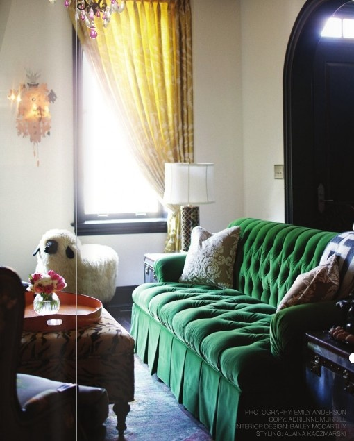 green velvet tufted sofa via peppermintbliss.com