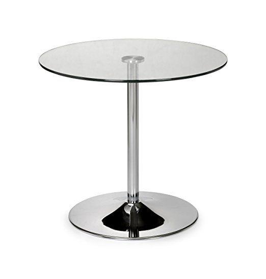 Julian Bowen Kudos Compact Pedestal Dining Table, 80 cm Diameter - Chrome and Glass