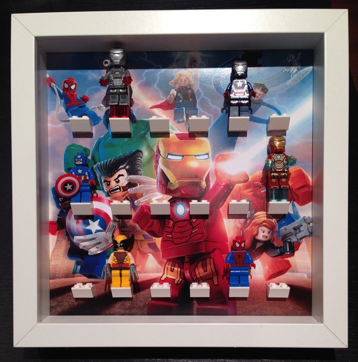 Lego Marvel Super Heroes minifigures Frame. Display Case for Lego Marvel Super Heroes sets. **Exclusive** by LegoMinifiguresFrame