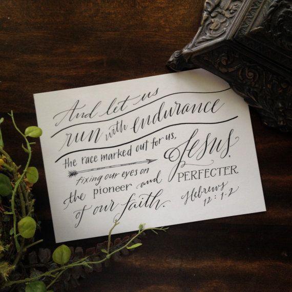 Hebrew 12:1-2 Hand-Lettered Scripture Print Bella door Paperglaze