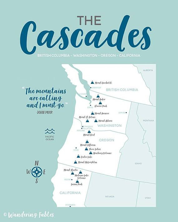 Cascades Map Mountain Range British Columbia Washington Oregon