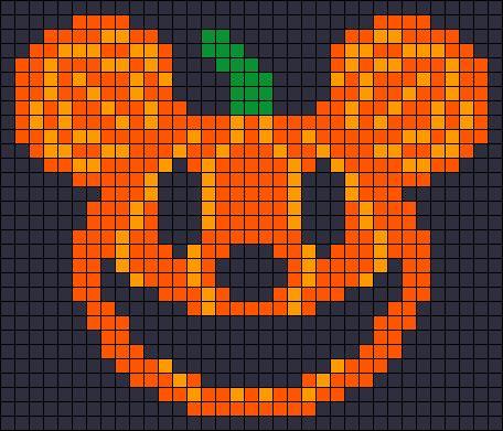 Mickey Mouse pumpkin - Halloween perler bead pattern - http://www.mariadiazdesigns.com/mdd/shop.php?showid=233